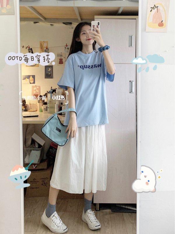 夏日5套显白蓝色系学生穿搭小个子-穿衣搭配-辣妈女性网