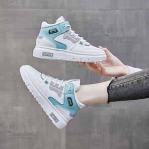 时尚休闲女鞋厚底高帮小白鞋新款耐磨板鞋潮
