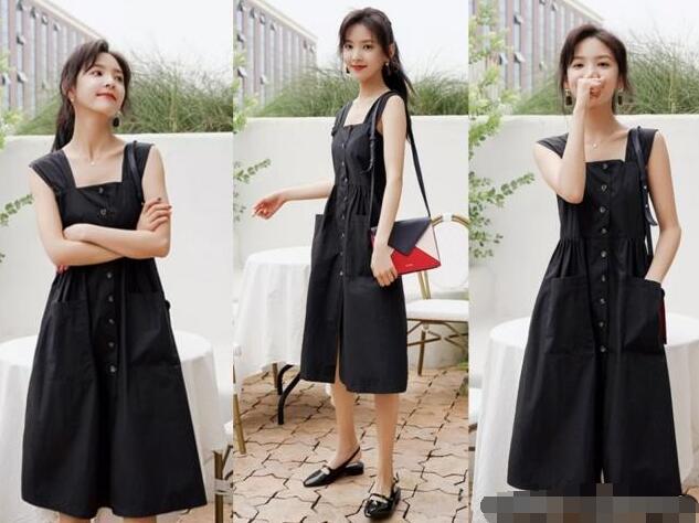 背心黑色连衣裙