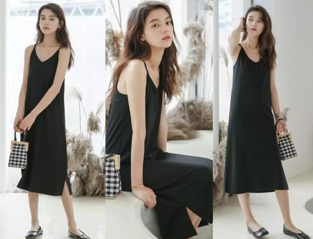 吊带黑色连衣裙