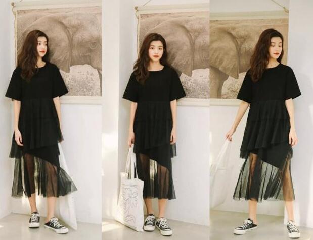 蕾丝黑色连衣裙