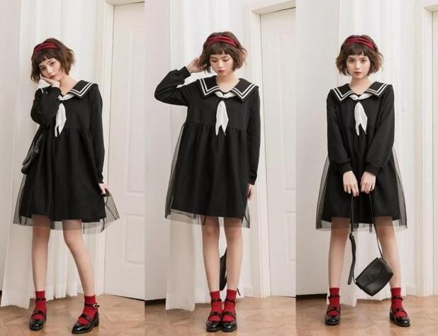 学院风黑色连衣裙
