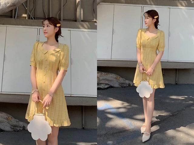 黄色衬衫连衣裙 包头凉鞋