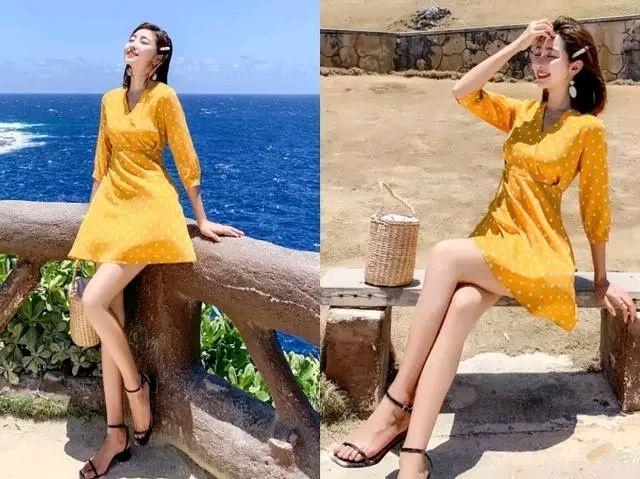 黄色波点裙 一字凉鞋