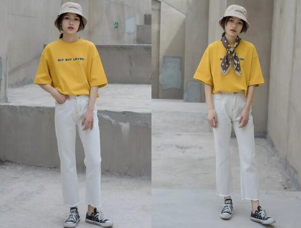 白色直筒裤 黑色帆布鞋