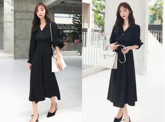 黑色V领连衣裙 黑色单鞋