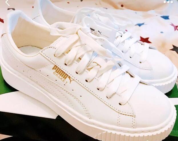 puma的厚底小白鞋