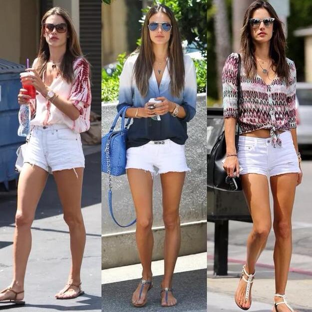 白色牛仔短裤