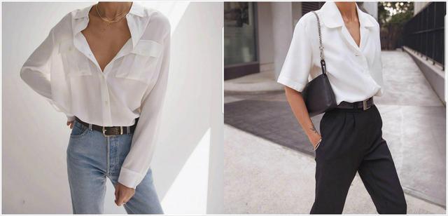 白衬衣 牛仔裤