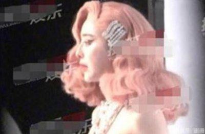 范冰冰cos梦露 戴粉色波浪短发造型让人眼前一亮