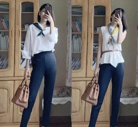 白衬衣 瘦腿裤