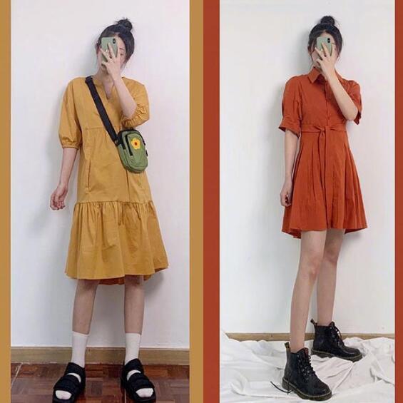 复古风的连衣裙