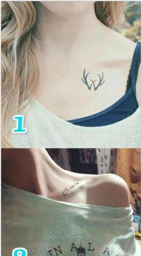 女生锁骨清新小纹身