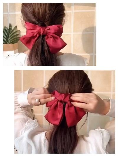大蝴蝶结卡子如何在头顶上戴好看 少女感满分的蝴蝶结发型扎法