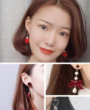 韩国丝绒耳环 提升颜值美到底