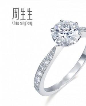 时下流行的周生生女士铂金戒指
