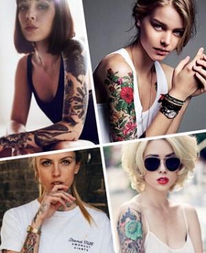 欧美女孩的花臂纹身造型超酷!