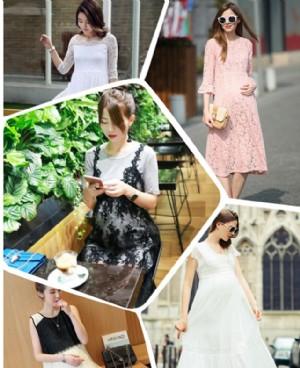 孕妇装蕾丝长裙孕期穿起来也能这么美