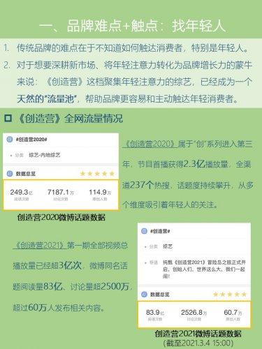营销案例N.1   蒙牛纯甄+《创造营》综艺营销