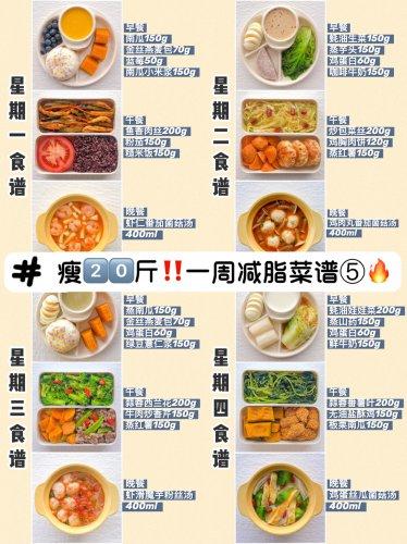 减脂第5周|月瘦8斤‼一周减脂餐菜谱