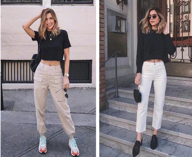 最近很多妹子私信小编 短款上衣适合搭配什么裤子显腿长?