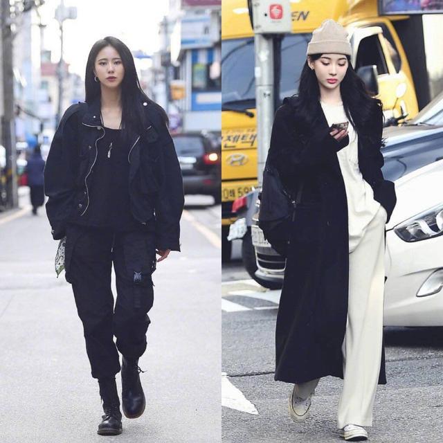 随着温度的逐渐回转 女生穿黑色衣服图片
